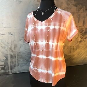 NWT - Earth tone tie dye rolled sleeve t shirt